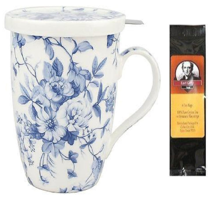 White teacup with lid.  Blue floral print on cup.  Teabag with photo of Earl Grey.