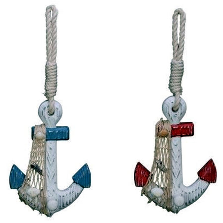 2 wood anchor hooks. Hooks are white with net accent, 1 also has blue accents & the other has red accents.