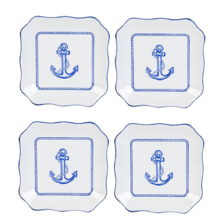 4 Nautical Anchor Porcelain Serving Plates 6.5 Inches Square