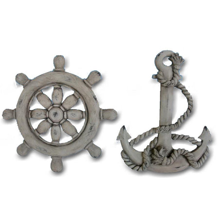 2 nautical wall decorations with a light colored weathered look. 1 is a ships wheel and 1 is an anchor.