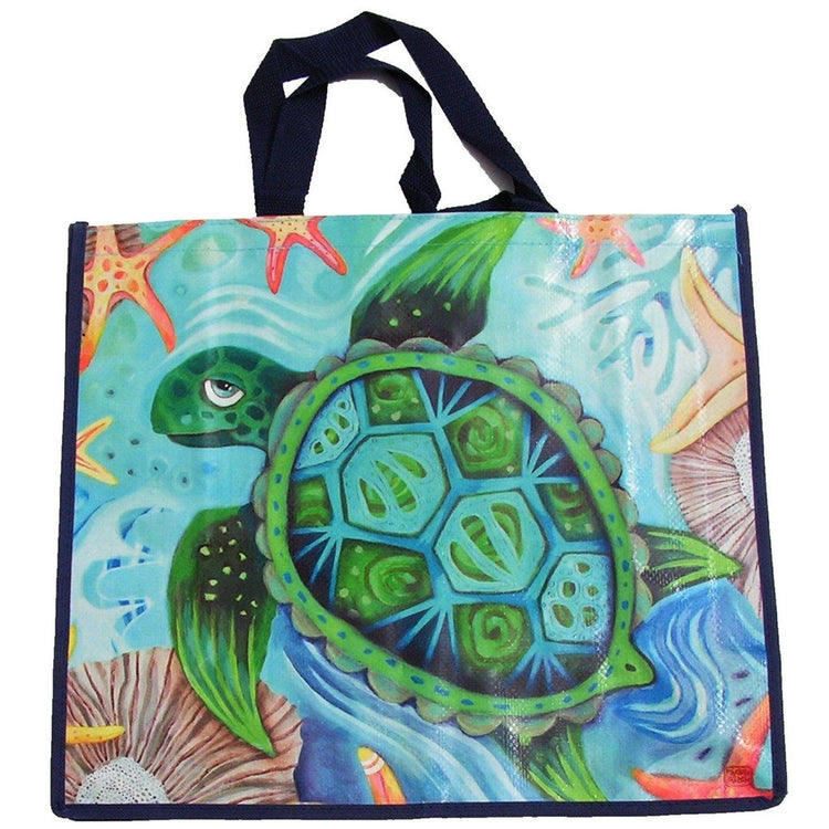 square shaped colorful shopper bag featuring a large sea turtle.  Underwater scene with starfish and coral.  Blue's and greens.