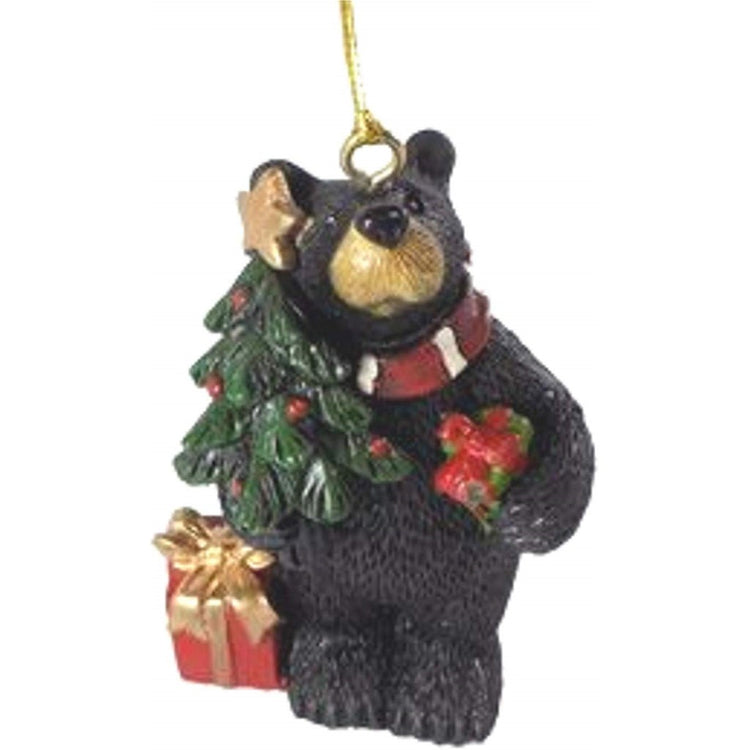 Black Bear With Christmas Tree Hanging Ornament