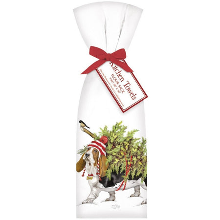 2 Basset Hound Dog With Christmas Tree Ribbon Tied Flour Sack Towels
