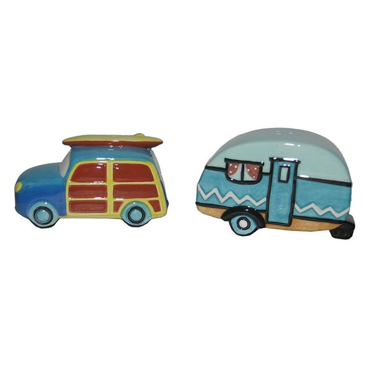 Beach Car and Camper Design Salt and Pepper Shakers