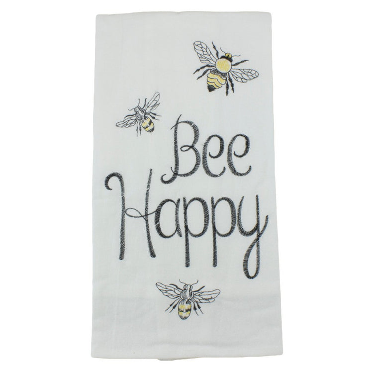 "White folded flour sack dishtowel with black embroidered text ""Bee Happy"" and 3 bumble bees."