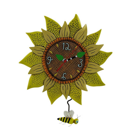 Swinging Pendulum Sunflower Clock Bee Sunny