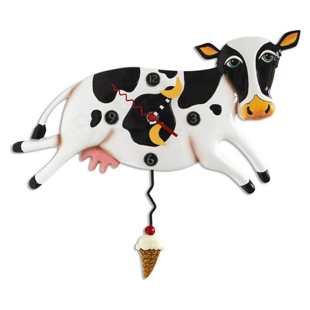 Bessie the Cow Clock with Swinging Ice Cream Cone Pendulum
