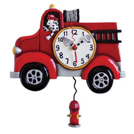 Big Red Fire Truck Clock with Swinging Pendulum