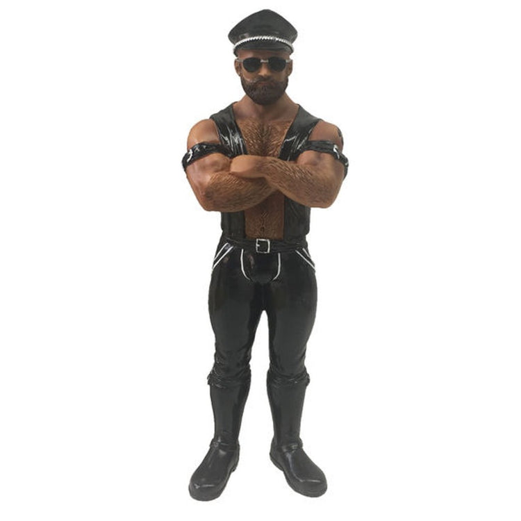 African American Man dressed in typical biker gear like black leather and hat.  Figurine hanging ornament.