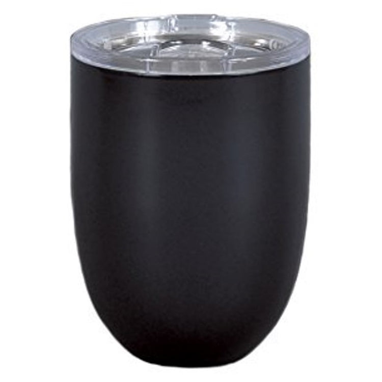 Stemless wine glass with clear top.   Black color.