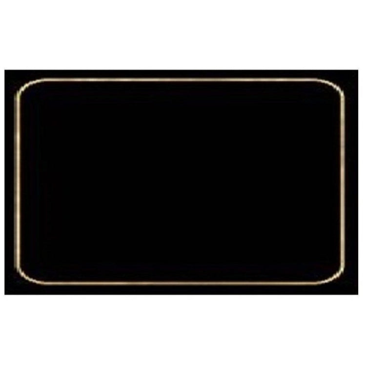 Black placemat with small golden border.