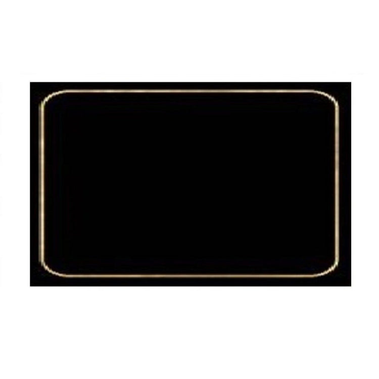 Navy blue hardboard placemat with a thin silver gray border around the edge.