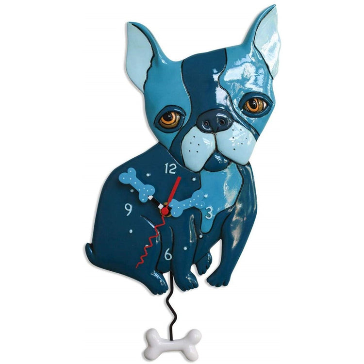 Blue french bulldog with blue and white chew bone shaped hands and pendulum.