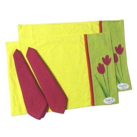 2 Bloom Applique Placemats and Napkins - Garden Decor