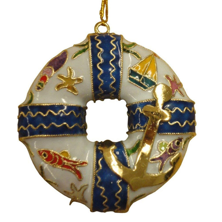 Life ring shaped hanging Christmas ornament.  Blue and white with nautical accents including gold anchor.
