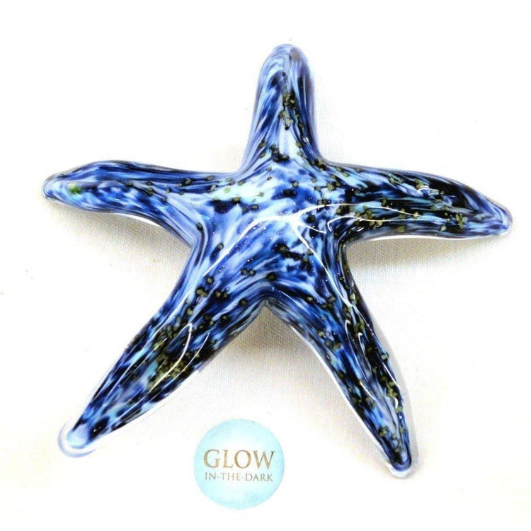 Hand Blown Glass Walking Starfish, Blue Glows in the Dark