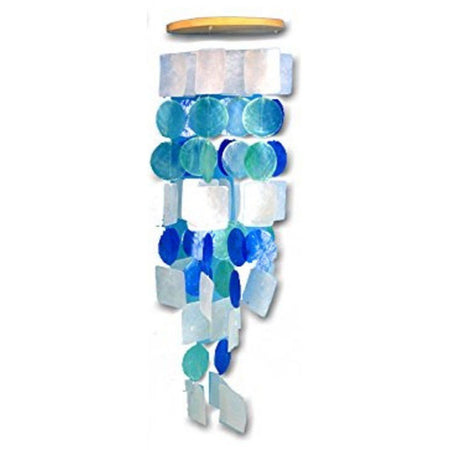 Blue Circles and Squares Capiz Wind Chime