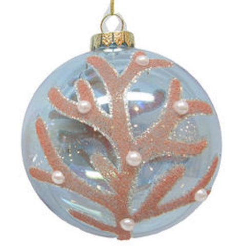 Coral Ornament With Pearl Like Bead Embellishment 4 Inch Diameter, Blue