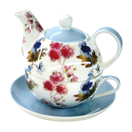 Blue Red Rose Vine 4 Piece Tea for One