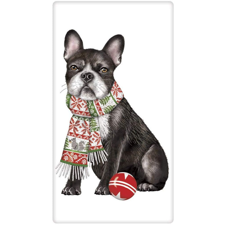 Folded white dish towel with Boston Terrier print.  Dog is wearing a scarf and has a red ball.