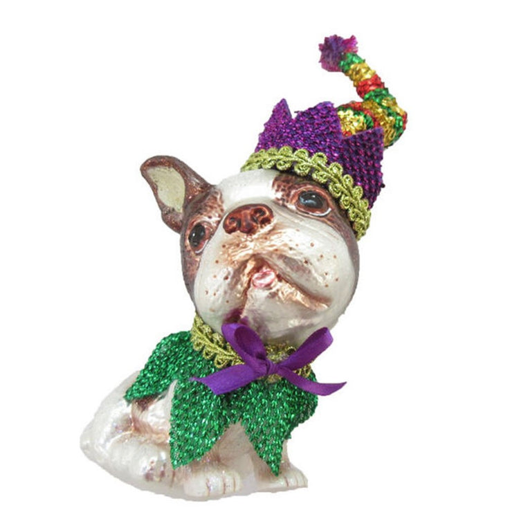 Boston Terrier shaped figurine ornament. Wearing Mardi Gras type outfit with hat in purples and greens.