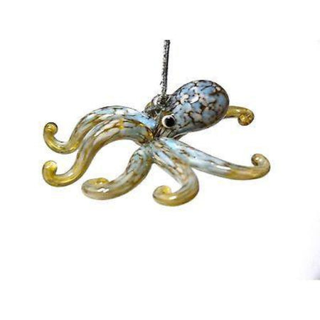 Octopus shaped Christmas ornament.  Shades of tan, blue and white.