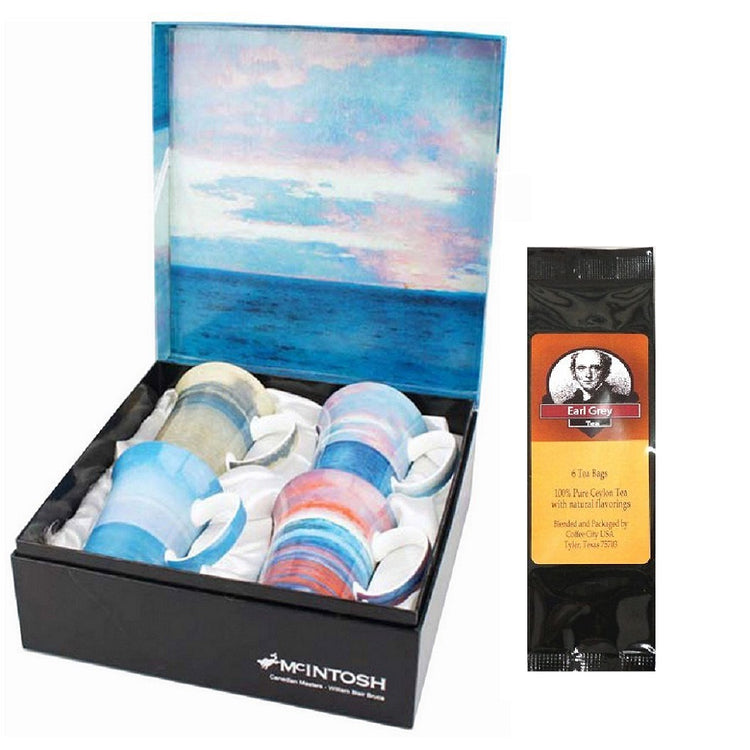 4 mugs, gift box & black package of tea bags. all 4 mugs and the box show artwork from William Blair Bruce.
