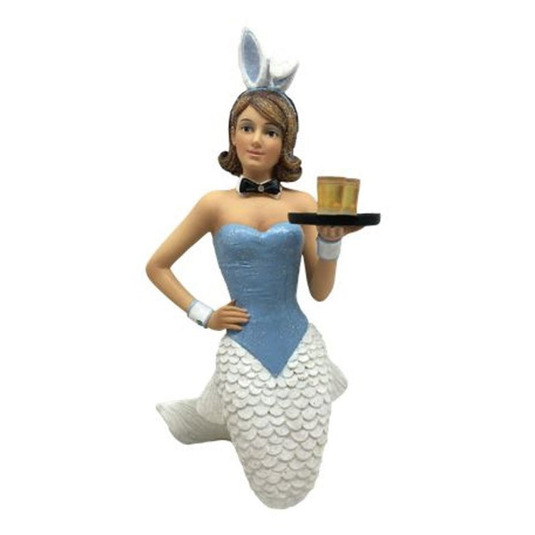 Mermaid figurine ornament.  Dressed like a bunny holding a serving tray.  Wearing bunny ears.