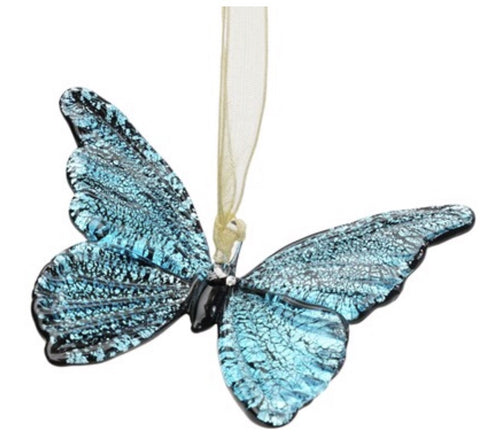 Blue Metallic Butterfly Hanging Ornament
