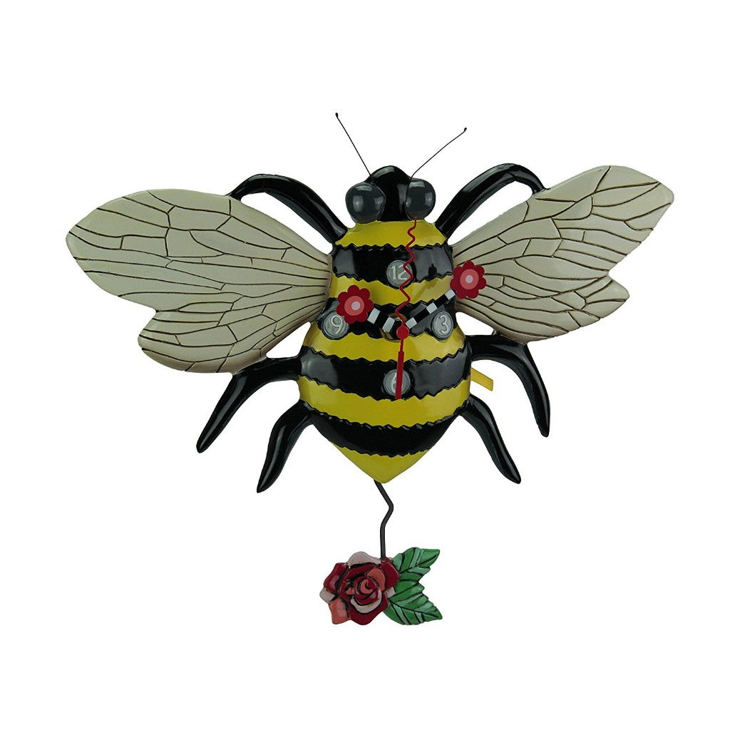 Buzz Bumble Bee Clock with Swinging Rose Pendulum