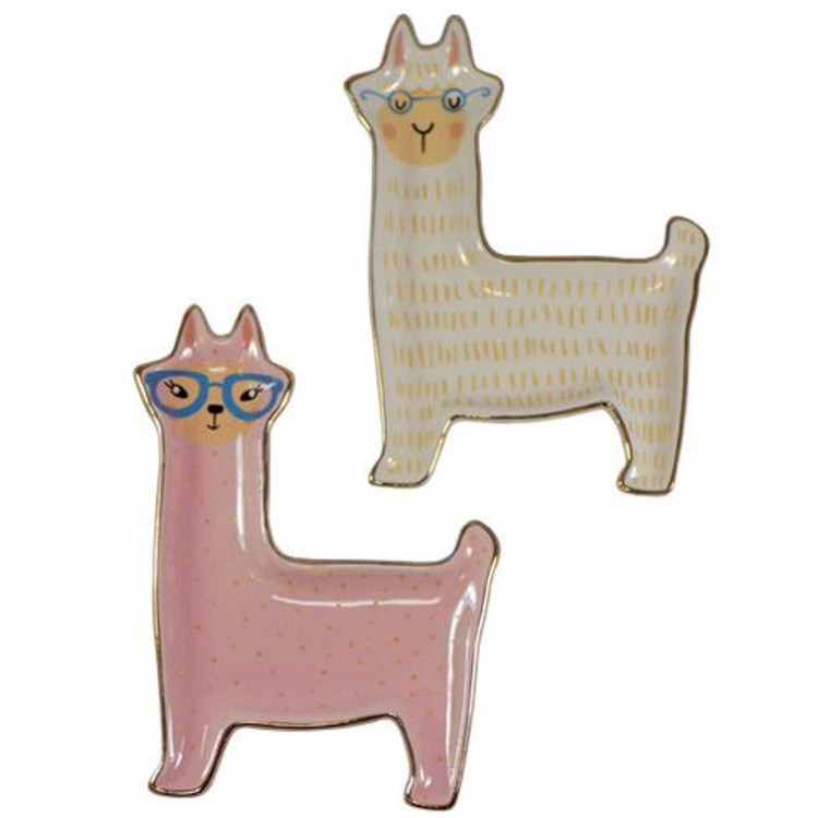 2 llama designed trinket trays. 1 is pink with dots & blue glasses. 1 is white with yellow line pattern & small blue glasses