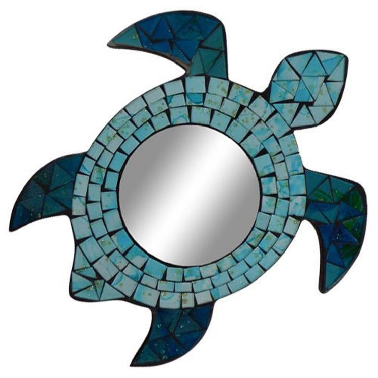 Sea turtle shaped mirror with mosaic green and blue border.