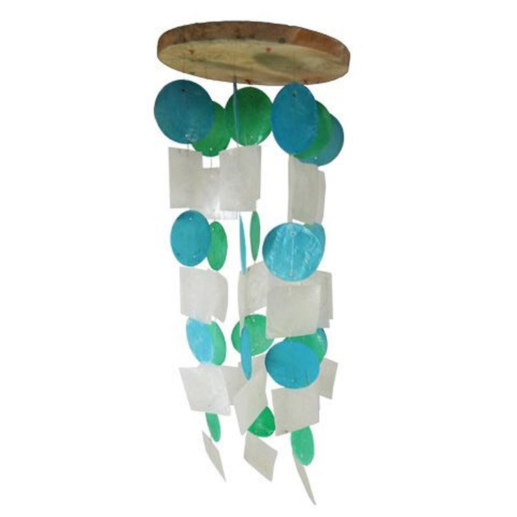 Wood top wind chime with blue, green and white capiz shells in circle and square shapes.