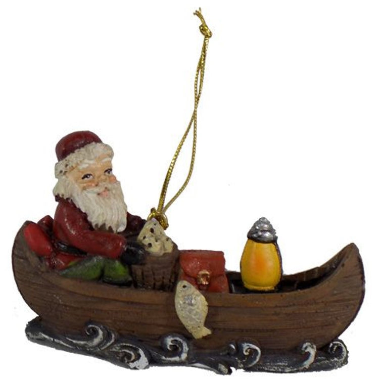 Santa In a Canoe Hanging Ornament