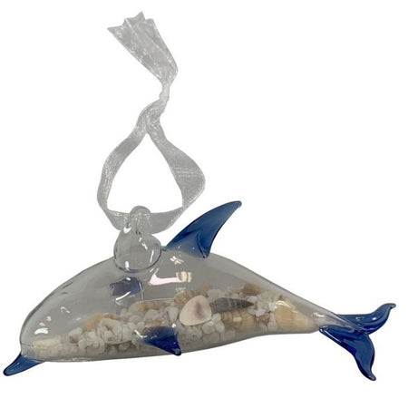 Glass Dolphin with Sand and Shells Hanging Ornament