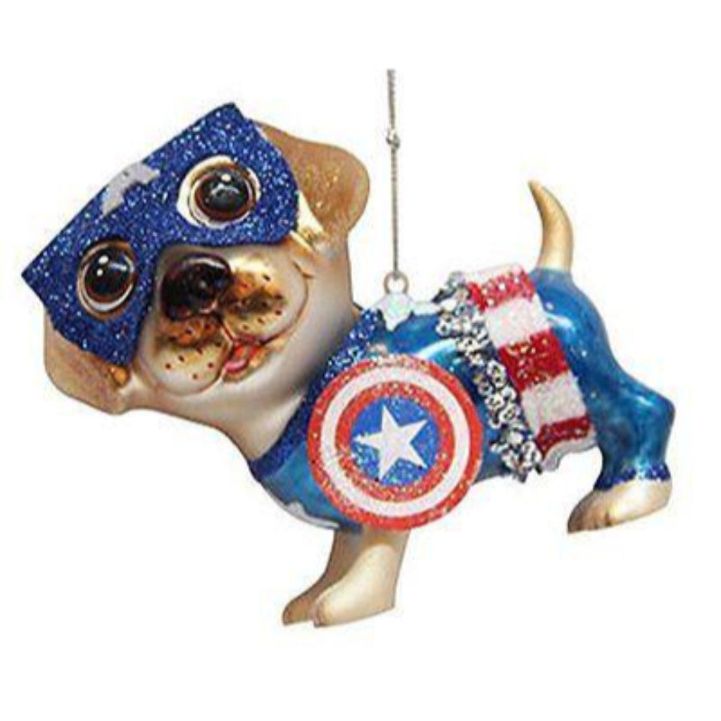 December Diamonds Blown Glass Captain America Dog Ornament
