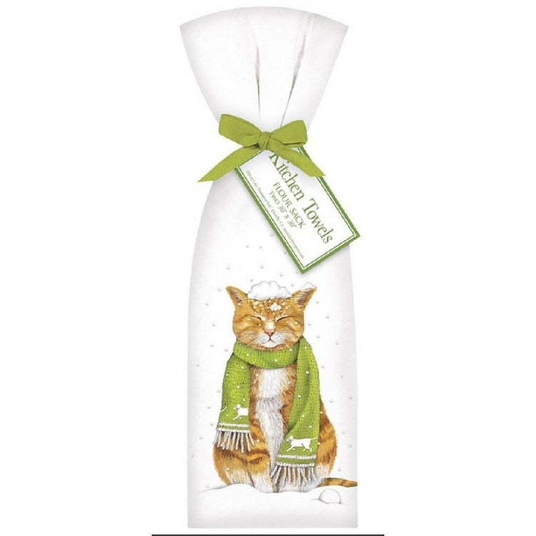 2 Ribbon Tied Cat In The Snow Flour Sack Dishtowels