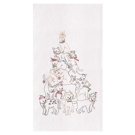 White dish towel embroidered with cats in a tree shaped pyramid.
