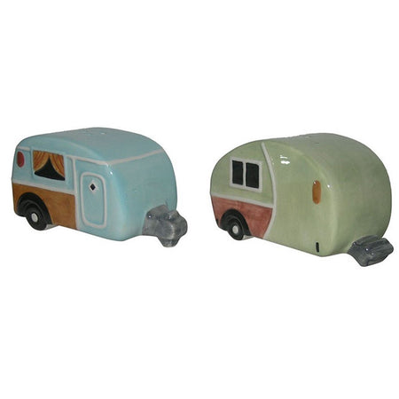 Camper designed salt and pepper shakers.  one is shades of pale blue and one shades of pale green.