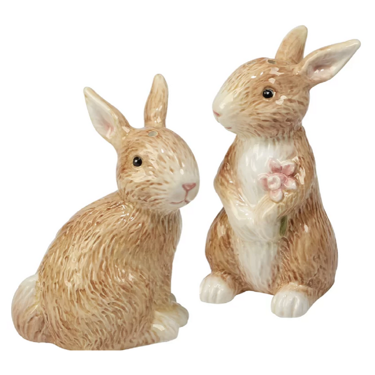Rabbit shaped salt and pepper shakers. Shades of tan and brown.  One rabbit is standing up holding flowers.