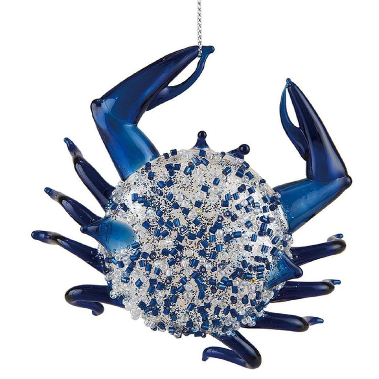 Crab shaped hanging ornament.  Blue with white and blue beads.