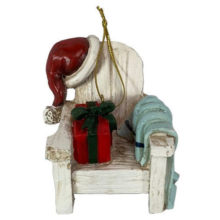 Barry Owens Resin Beach Chair with Santa Hat and Presents Hanging Ornament BV831 2.5 Inches x 2.75 Inches