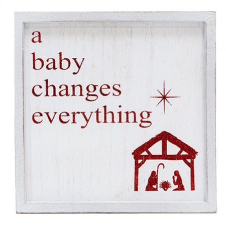A Baby Changes Everything Wood Sign