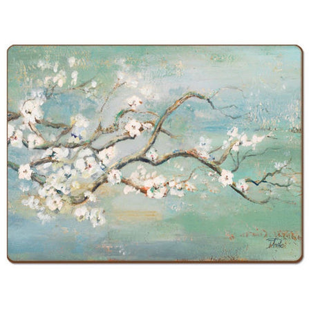 Blue green placemat  with painted cherry blossom branch design.