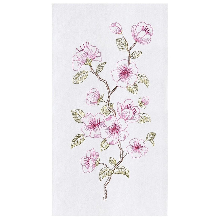 White dish towel embroidered with red to pink cherry blossom blooms.