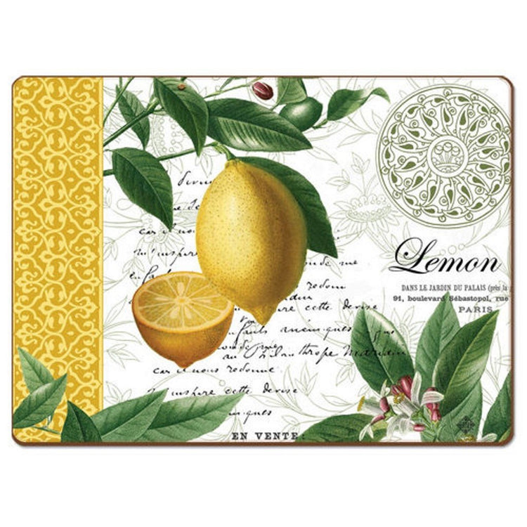 Placemat with white background, yellow design on the left side & lemon tree branches with fruit and flowers.