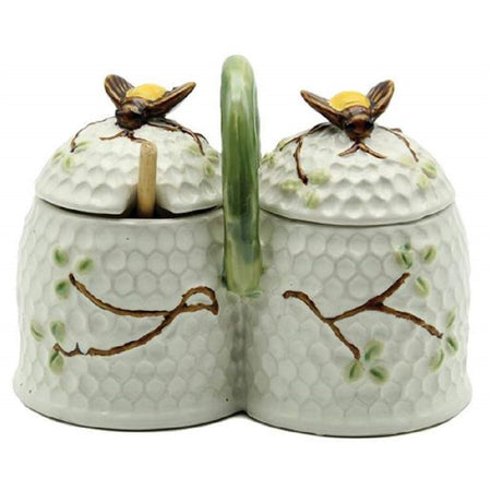 Stoneware Bee Double Condiment Jar