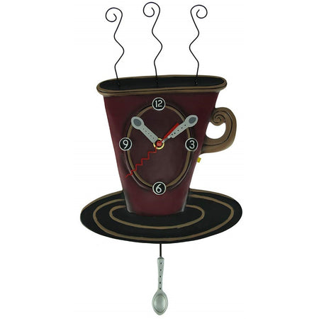 Allen Designs Swinging Pendulum Coffee Cup Clock Cozy Cafe P1758 18.5 Inches X 16 Inches