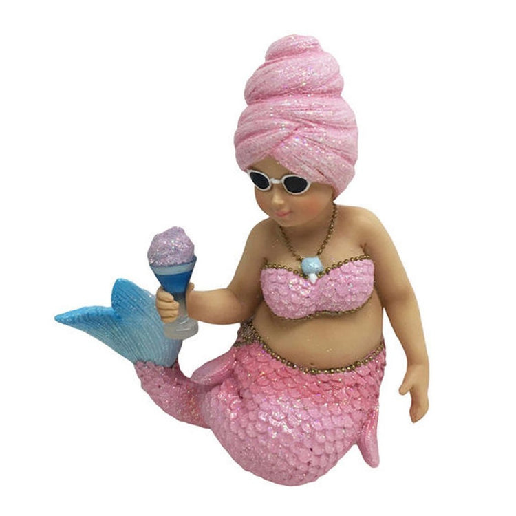 Chunky mermaid figurine hanging ornament. She is wearing pink tail and matching bra with cotton candy like hair holding cotton candy.