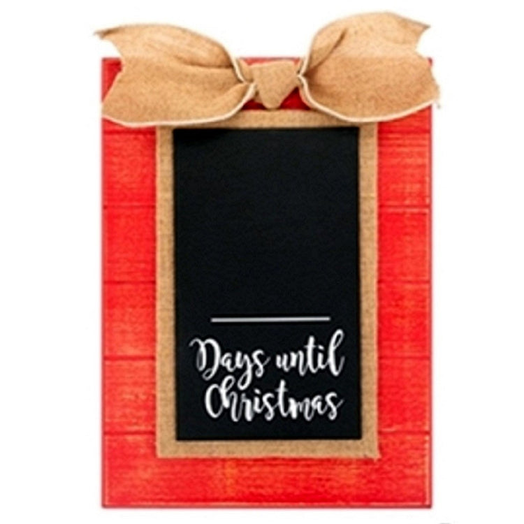 "Rectangle sign with chalkboard center, red boarder and gold bow and accent.  Text ""Days until Christmas""."